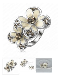 Platinum Plated Flower #Ring With Austrian Crystal - Free Shipping #jewelry #onlineshopping  http://krat.im/6fl