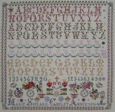 Gorgeous french cross stitch sampler Marie Soulard 1896, by Reflets de Soie, available as a chart pack from Riverdrift House.
