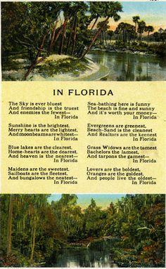 """""""In Florida"""" poem by William Lee Popham. Vintage Florida, Old Florida, State Of Florida, Florida Travel, Florida Home, Florida Keys, Florida Trips, Florida Usa, Florida Sunshine"""