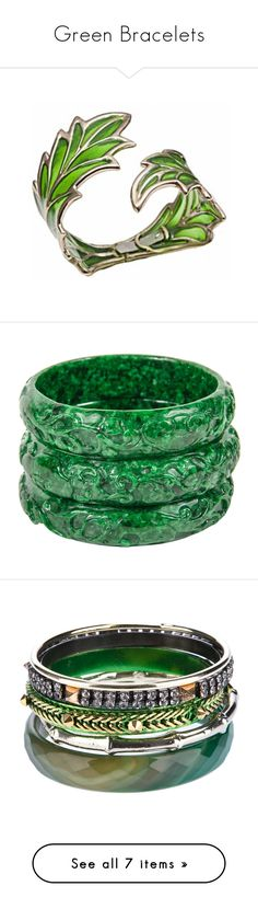 """""""Green Bracelets"""" by tempermental-teen ❤ liked on Polyvore featuring jewelry, bracelets, enamel jewelry, cuff jewelry, green jewellery, green bangles, cuff bangle, green, multiple and carved jade bangle"""