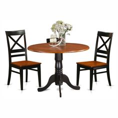 East West Furniture Dublin 3 Piece Drop Leaf Dining Table Set with Quincy Wooden Seat Chairs - DLQU3-B