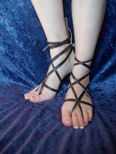 a7c106636d85 Gladiator Barefoot Leather Sandals--- Fairy Sandals--- Greek Sandals---  Beach Sandals--- With Tie In