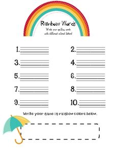 free rainbow words