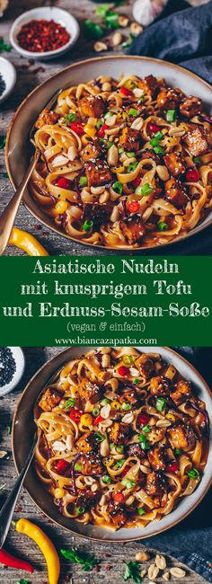 Asian Noodles with Tofu and Peanut Sesame Sauce - Bianca Z Asiatische Nudeln mit Tofu und Erdnuss-Sesam-Soße – Bianca Zapatka Tofu Recipes, Asian Recipes, Vegetarian Recipes, Dinner Recipes, Healthy Recipes, Ethnic Recipes, Vegetarian Chili, Cake Recipes, Breakfast Recipes
