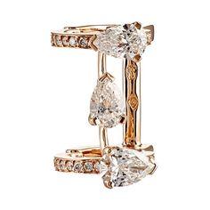 Repossi Women's Serti Sur Vide Ear Cuff ($24,720) ❤ liked on Polyvore featuring jewelry, earrings, ear cuffs, colorless, clear earrings, 18 karat gold jewelry, repossi ear cuff, 18k earrings and clear crystal earrings