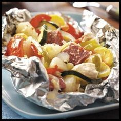 Easy Dinners: some kind of meat - hamburger, farmer's sausage, hot dogs, chicken, salmon, shrimp, etc. & choice of veggies
