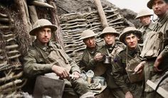 Soldiers of the 22nd Infantry Battalion, 6th Brigade, 2nd Division, AIF, taking a meal in the trenches on Westhoek Ridge, between Hannebeek and Nonne Bosschen, in the Ypres sector on the night before the opening Australian attack on the Third Battle of Ypres on 20 September 1917. Identified, left to right: Mundie; Gilbert; Peach; Robinson; and two unidentified soldiers. Colourised by. https://www.facebook.com/Greetingsfromthetrenches