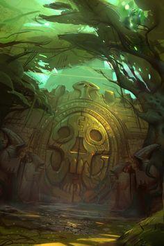 Zandalari Gate Art from World of Warcraft: Battle for Azeroth #art #artwork #videogames #gameart #conceptart #illustration #worldofwarcraft #battleforazeroth #wow #environmentdesign High Fantasy, Fantasy Rpg, Fantasy World, Epic Backgrounds, Troll, Dungeons E Dragons, Inka, Aztec Art, Environment Concept Art