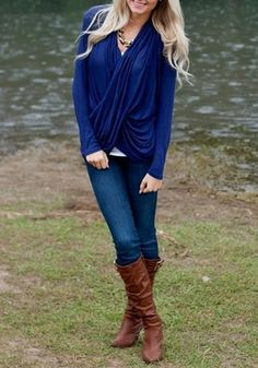 Blue Plain Ruffle Twisted V-neck Long Sleeve Slim Fashion Casual Pullover - Fashion Show - Trends