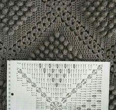 Popcorn and double crochet granny square