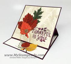 My Stamp Lady: Easel Card & Emboss Resist - Vintage Leaves - Thankful Forest Friends - Leaflets Framelits