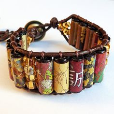 Sincerity and Truth Cuff Bracelet  Japanese Art by ElectricPenguin