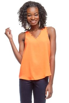 ORANGE SLEEVELESS TOP WITH CONTRAST PRINT DETAIL