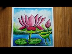 Oil Pastel Drawings Easy, Easy Flower Drawings, Oil Pastel Paintings, Oil Pastel Art, Colorful Drawings, Easy Drawings, Lotus Drawing, Lotus Painting, Galaxy Painting