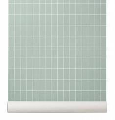 Ferm Living Behang 'Grid' licht groen/wit papier 10.05x0.53cm