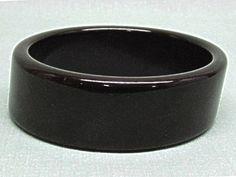 Big Chunky Wide Slanted Bakelite Bracelet Black by COBAYLEY, $48.00
