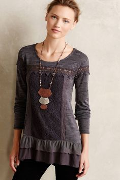 6a0cefcf50c256 NWT Anthropologie Gray Lace Tunic by Meadow Rue Sz Petites XXSP, LP (Dark  Gray