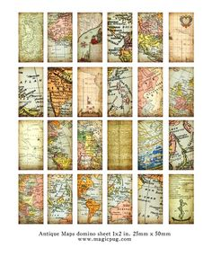 Antique Maps of the World domino digital collage sheet 1x2 in 25mm x 50mm $4 JPG