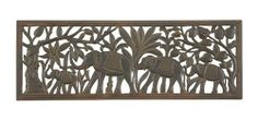 """Benzara 32623 45 in. W x 16 in. H Wood Wall Plaque by Benzara. $82.84. Color: Antique Brown. Size: 16""""H x 45""""W x 1""""D. Elephants Theme. Wall Mounted Decor. Distressed Wooden Art. Liven up your home with the Marching Elephants Wood Wall Decor Panel! This decorative wall art is made of wood with a dark finish and strategically placed distressing to make it look like an antique. At 45"""" long, this fun elephant decor piece spans medium to large walls, adding visual..."""