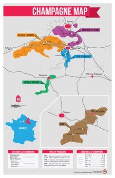 """[Map] """"Champagne Map (France)"""" Nov-2012 by Winefolly.com - Carte du Champagne (carte des 5 régions produisant du Champagne)"""