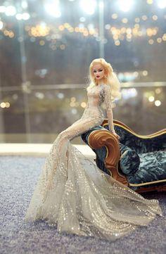 "silver mermaid dress for Barbie Doll, Poppy Parker, Silkstone Barbie, Fashion Royalty Dolls 12"" size"