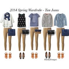 Spring Wardrobe - Tan Jeans by bluehydrangea on Polyvore featuring Boden, J.Crew, French Connection, Pim + Larkin, Dondup, K. Jacques, Banana Republic, Madewell and Kate Spade