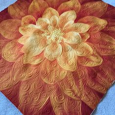 Finished a couple more Dream Big panels this week! Tried some swirls on this yummy tangerine one. Longarm Quilting, Free Motion Quilting, Hand Quilting, Big Block Quilts, Small Quilts, Machine Quilting Designs, Quilting Projects, Quilting Ideas, Whole Cloth Quilts