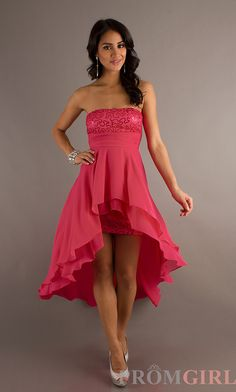 High Low Dresses, Strapless Dresses for Junior Prom- PromGirl