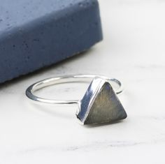 ccc9b5d97fe Labradorite Stone Triangle and Sterling Silver Ring. Lisa AngelTriangle ...