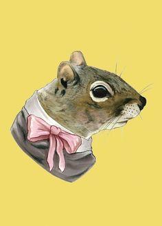 Squirrel Lady art print 5x7 by berkleyillustration on Etsy, $10.00