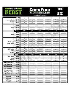 New And Improved Body Beast Workout Sheets Track Your Workouts