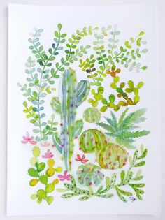 Cacti and Succulent Jungle Watercolor Illustration by Thévy Guex