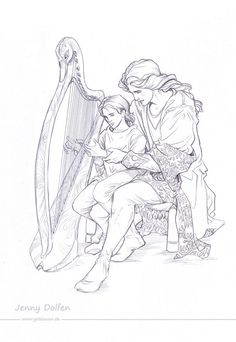 Maglor teaches little Elrond to play the harp. Light watercolour wash following later.