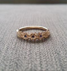 Diamante azul zafiro flor anillo de compromiso por PenelliBelle
