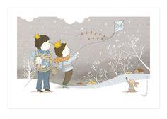 Print children art, baby boy nursery - Winter Play