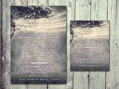 Set of 120 - GREY - Heavenly Night with String Lights Wedding Invitation and Reply Card Set - Wedding Stationery - ID333GRY