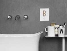 Do you want to spend your mornings here? Shop the cup with the letter of your choice here https://www.typehype.eu/DIN-becher. #typehypeberlin #bathroom