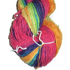 Handspun, Handdyed Selfstriped Merino Bamboo Silk Art-Yarn. #design #gifts