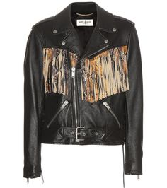 Saint Laurent - Fringed leather jacket - Saint Laurent ups the ante with this stunning leather jacket. The snakeskin-effect embossed fringe provides a stunning focal point to to the black leather design while angular zippers and lace-up details to the sides keep the impression achingly cool. Style yours with distressed denim to complete the rebellious look. seen @ www.mytheresa.com