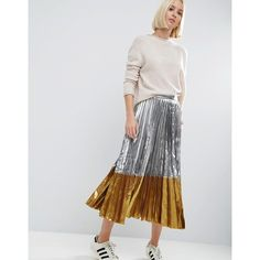 ASOS Pleated Midi Skirt in Metallic with Contrast Hem ($65) ❤ liked on Polyvore featuring skirts, silver, metallic skirts, knee length pleated skirt, zipper skirt, asos and metallic pleated skirt