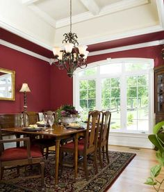 Pantone Color of the Year: Marsala! The dining room is a great place to use strong colors, and Marsala is a natural fit. A large window and volume ceiling design keep the space feeling bright and open. Get inspired on our #House #Plans #Blog http://houseplansblog.dongardner.com/pantone-color-year-marsala/