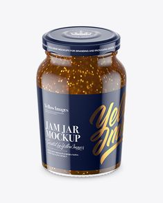 Clear Glass Jar with Fig Jam Mockup - High-Angle Shot