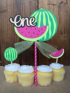 Summer Watermelon Tropical Birthday CAKE TOPPER - One in a melon Birthday Party - First Birthday - Choose Age - Centerpiece by papermeblossom on Etsy https://www.etsy.com/listing/448508594/summer-watermelon-tropical-birthday-cake