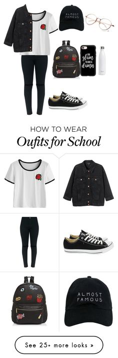 """""""school"""" by unicatcolette on Polyvore featuring Monki, Converse, Ollie & B, Casetify, S'well, Nasaseasons and school"""