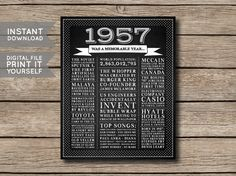 1957 - Printable 60th Birthday or Anniversary Chalkboard Style Facts & Trivia Print Poster - DIGITAL FILE -------------------- This listing is for a digital file that you can print yourself or have printed at a printing/photo printing store.  You will receive the poster in 4 sizes:  - 8 x 10 inches - 16 x 20 inches - A4 (210 x 297 mm) - A2 (420 x 594 mm)  All files are high resolution 300 DPI - JPG files.  If you need the files in PDF format, send me a message after you purchase & I will…