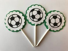 Items similar to Soccer Theme Cupcake Toppers - Soccer Birthday Party Decorations in Green & Black on Etsy Soccer Birthday Parties, Sports Theme Birthday, Soccer Party, Birthday Party Decorations, Baby Shower Decorations, Soccer Ball, Soccer Cupcakes, Themed Cupcakes, Soccer Baby Showers