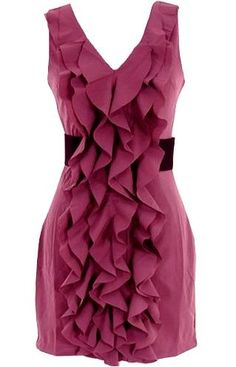 Rippled Raspberry Dress: Features an elegant V-neckline with scooped cut to the rear, multiple layers of flouncy frills cascading down to the hem, wide contrast belt at waist, and an edgy exposed rear zipper to finish.