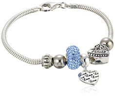 """CHARMED BEADS Sterling Silver Blue Crystal Love and Family Bead Charm Bracelet, 7.5"""". Sterling silver snake-chain bracelet with """"Family"""" and """"Love"""" heart charms and crystal-accented bead. Lobster-claw clasp. Imported."""