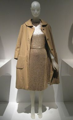 Traina-Norell evening set, gold sequined camel silk jersey sheath dress and cashmere coat with sequined lining, circa 1958. Gift of Lauren Bacall. Museum at FIT