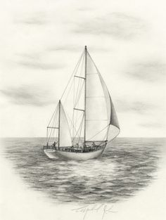 Sailboat Drawing Sketch Sailing Ship Vector Sketch Isolated With Waves. Landscape Pencil Drawings, Pencil Art Drawings, Drawing Sketches, Drawing Tips, Sketching, Sailboat Drawing, Sailboat Art, Sailboats, Drawing Base